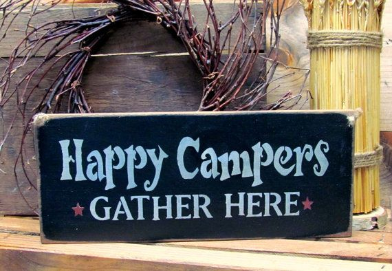 Wooden Camping sign Happy Campers Camp Decor Campsite by Woodticks
