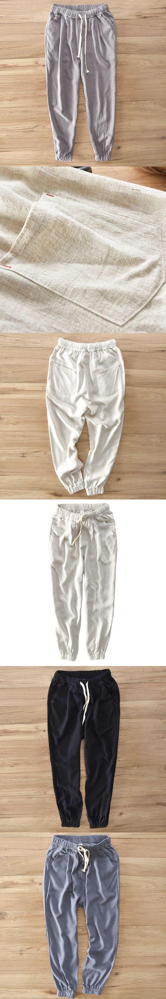 Plus Size S-5XL Men's Summer Casual Pants Cotton Linen Trousers White Elastic Straight Pants Y284