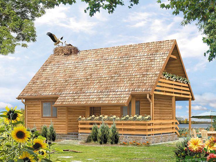 Biedronka_bal to pełen uroku, niewielki dom letniskowy z użytkowym poddaszem i dużym zadaszonym tarasem. Szczegóły projektu dostępne są na stronie: http://www.domywstylu.pl/projekt-domu-biedronka_bal.php. #biedronka #domywstylu #mtmstyl #domyzbala #projektygotowe #domyrekreacyjne #domyletniskowe