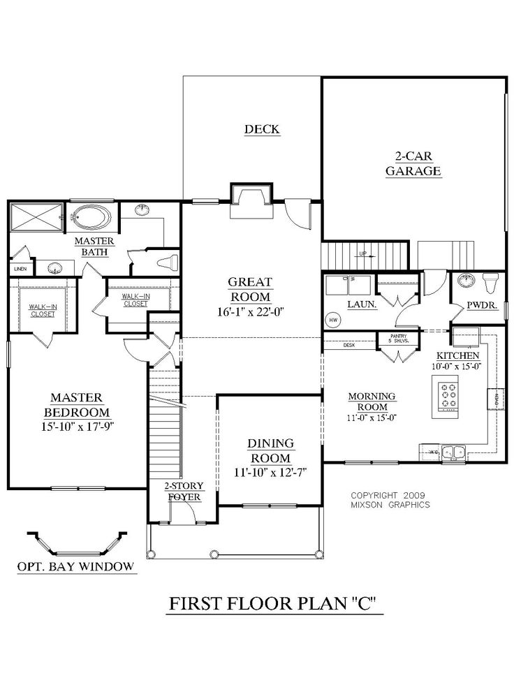 House plan 2675 c longcreek c first floor traditional 2 for Great room floor plans single story