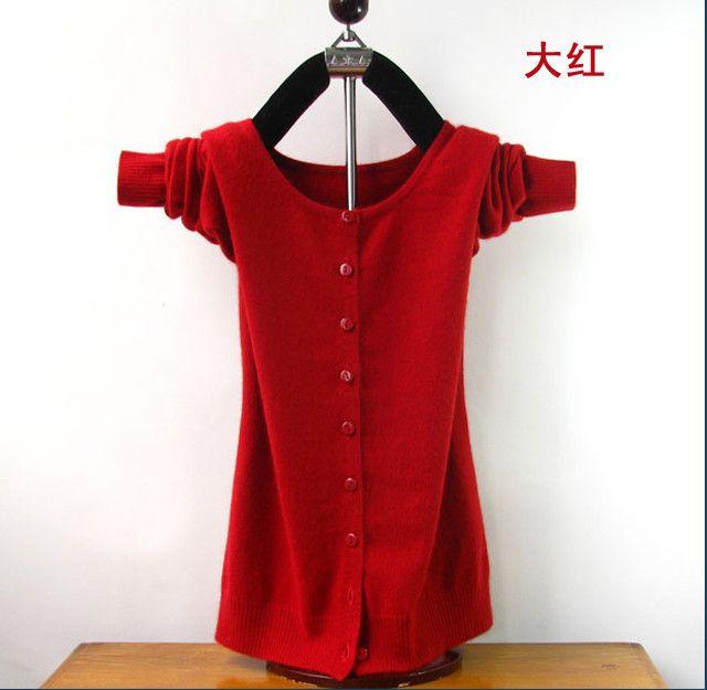 Autumn And Winter Female New Cashmere Cardigan V-Neck Knit Shirt Slim Korean Version Of The Big Yards Short Sweater Women Dress