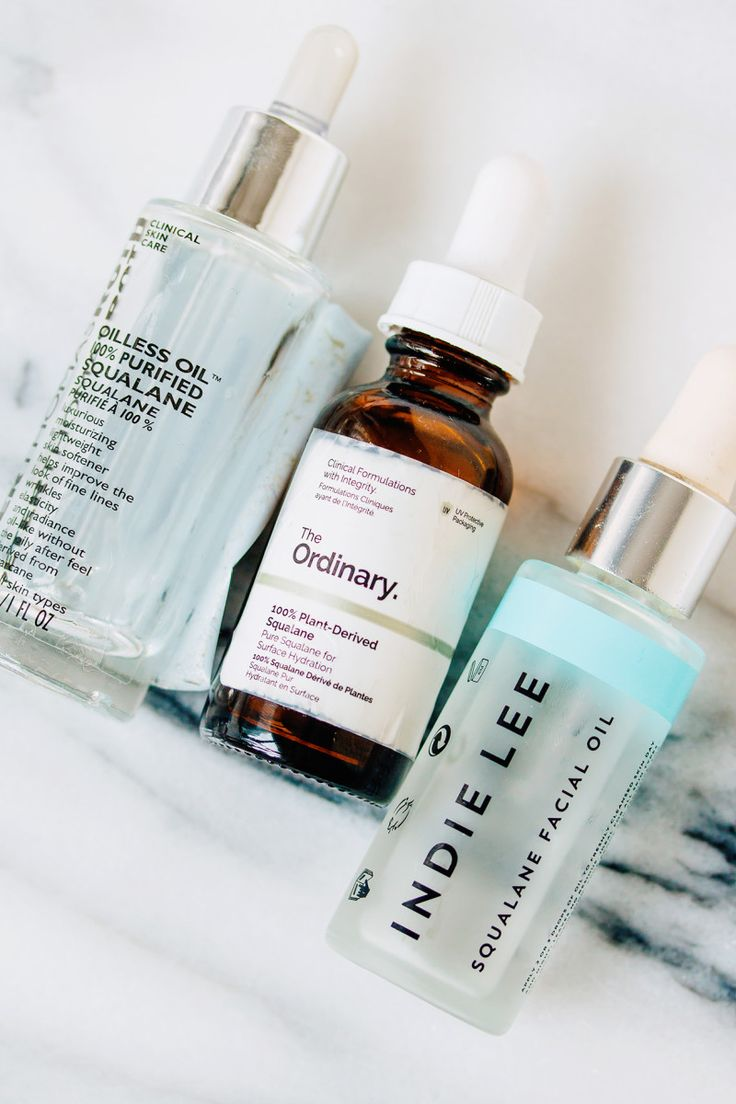 Peter Thomas Roth Oilless Oil 100% Purified Squalane, The Ordinary 100% Plant-Derived Squalane and Indie Lee Squalane Facial Oil.
