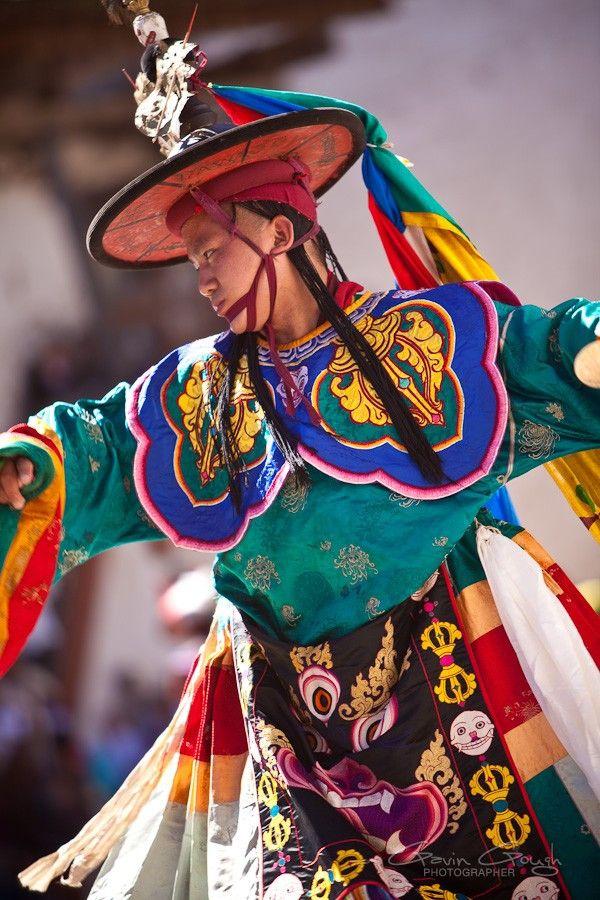 Tinetan Buddhist Black Hat Cham (sacred dance) Wangdue Phodrang Dzong-Bhutan
