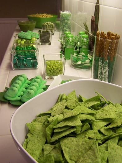 I really get into St. Patrick's Day - this was my green food bar from a couple years ago.
