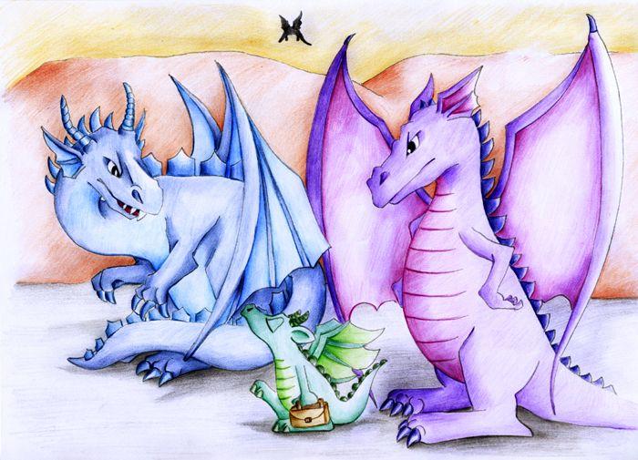 Drachen Illustration für Kinderbuch, mehr auf www.comicwald.de