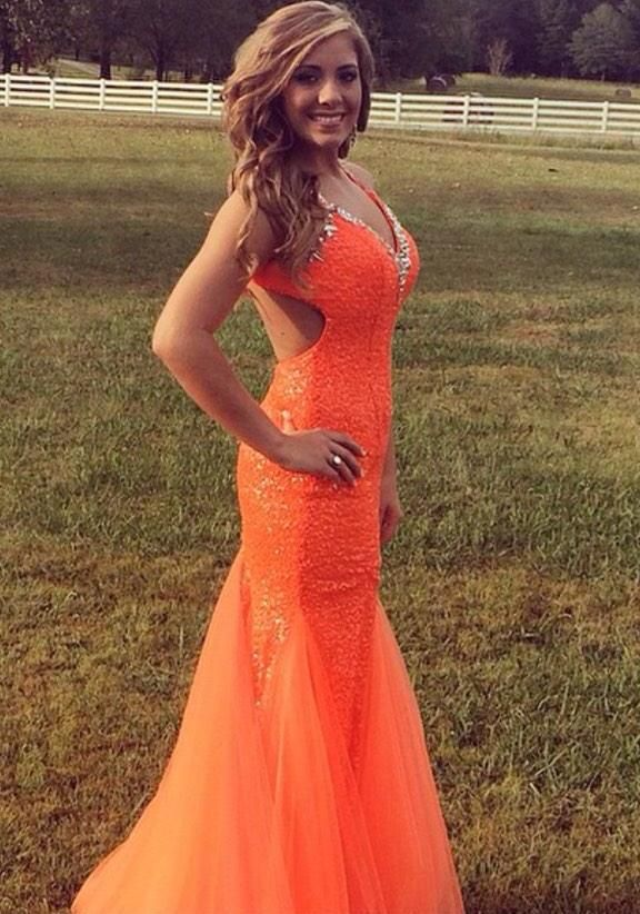 Neon Orange Homecoming Dress Loving The Side Cutouts With Sparkling