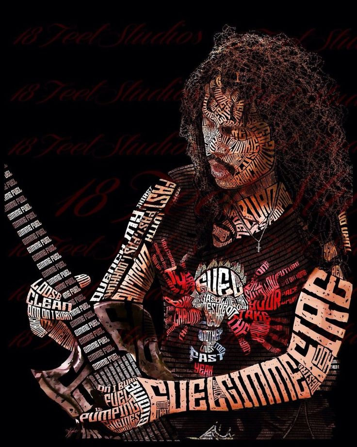 "Kirk Hammett (Metallica) drawn with the lyrics to ""Fuel"""