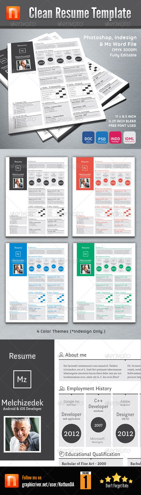 Clean Resume Template V1 GraphicRiver Information Ms Word File Docx Doc Photoshop Psd Indesign Indd Idml 4 Color Theme