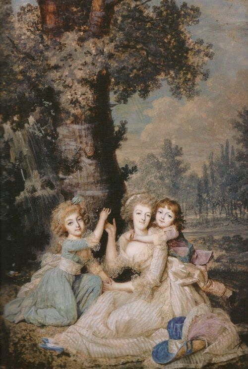 Marie Antoinette with Madame Royale and Louis-Charles, painted in early 1790 by François Dumont from madameguillotine.org.uk:category:marie-...
