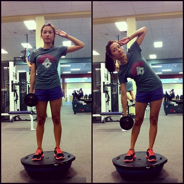 Teapots - Works out your obliques & helps get rid of your love handles. AGAIN, Bosu ball is optional. Stand with legs shoulder width apart, bend at your waist as far as you can without lifting your opposite leg off the grown or bending your supporting leg. Do 15-20 reps x 3-4 sets. I use 15-20lbs dumb bells.