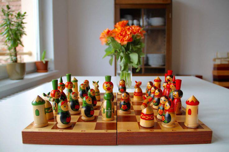 Vintage Original Hand Painted Chess Set From Soviet Union-Russia(St.Petersburg)-1990. Schachspielset aus der UdSSR. Made in USSR - (5) von SovietGallery auf Etsy