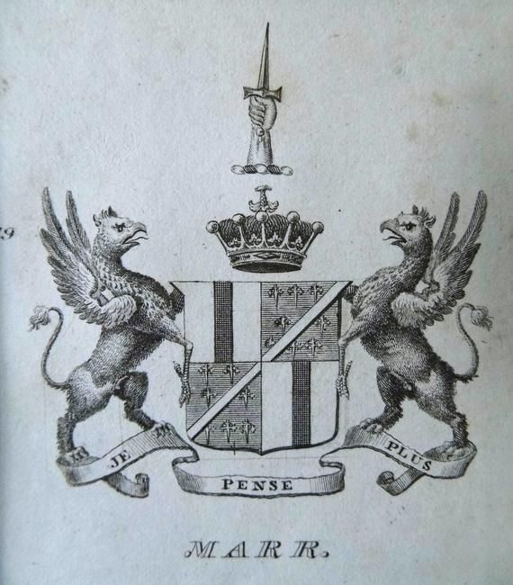 Antique Scottish heraldry engraving 1834 mounted print family coat of arms FORRESTER