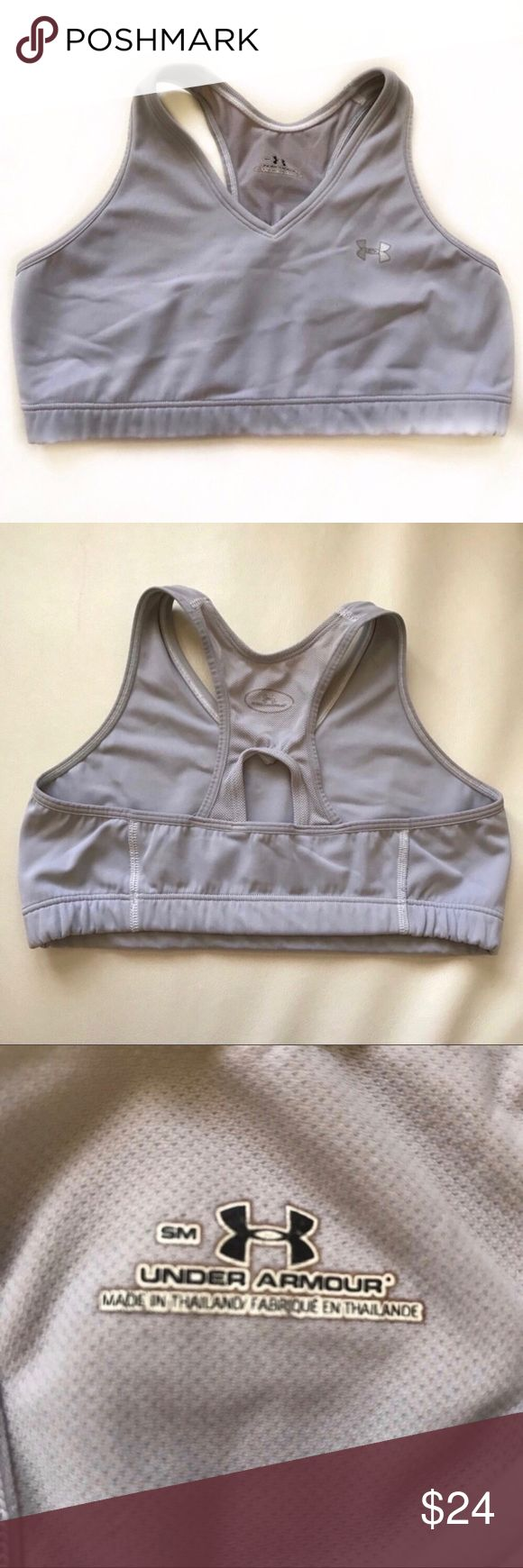 """UNDER ARMOUR gray grey sports bra small Perfect for gym or sports. Runs a bit small. Pls read measurements.  🏃🏻♀️Underbust 24"""" 🏃🏻♀️Pit to pit 12"""" 🏃🏻♀️Length 9.5"""" Under Armour Intimates & Sleepwear Bras"""