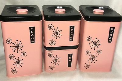 Vintage 50s Mid Century Pink Black Lincoln Beautyware Set Canisters Starburst in Collectibles, Kitchen & Home, Kitchenware | eBay