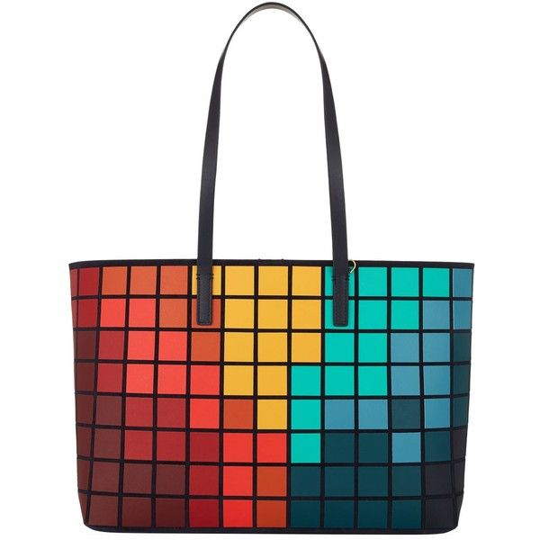 Anya Hindmarch Ebury Pixelated Shopper Tote (22.447.955 IDR) ❤ liked on Polyvore featuring bags, handbags, tote bags, over the shoulder tote, anya hindmarch tote, anya hindmarch tote bag, white purse and long purse