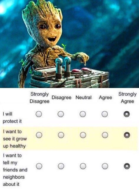 """Do not push that button. Because that will set of a chain reaction [yadayadayada whatnot] And we'll all be dead. Now repeat back what I just said."" ""I am Groot.... I am Groot.... *holds finger over button and smiles innocently* ""I am Groot."""