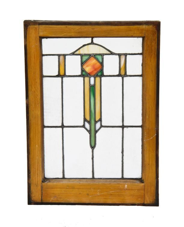 Original Early Century American Chicago Prairie Style Residential Leaded Art Glass Window With Intact Faux Finish Wood Sash Frame