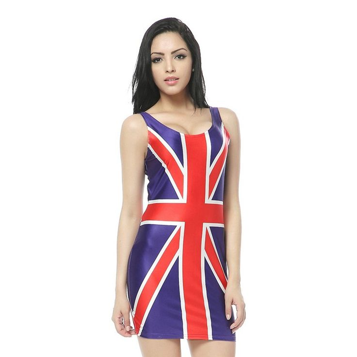 New Arrival Natural Union Jack Flag Print Mini Dresses Bodycon Women Summer Sexy Clothing Suit for Party Club