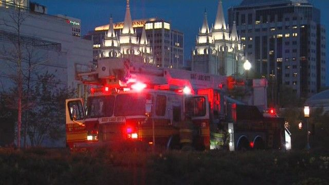 A small fire in a mechanical room in the LDS Conference Center led to water damage and flooding in the main auditorium Monday night.