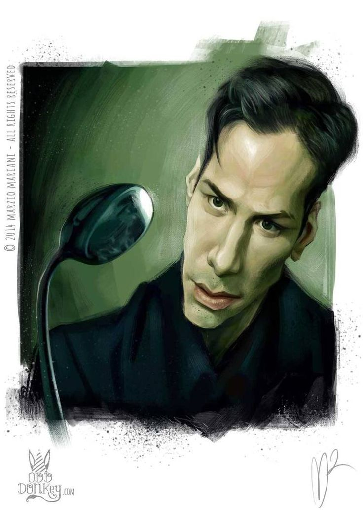 Keanu Reeves Caricature by Marzio Mariani. #Celebrity #Caricatures #Oddonkey
