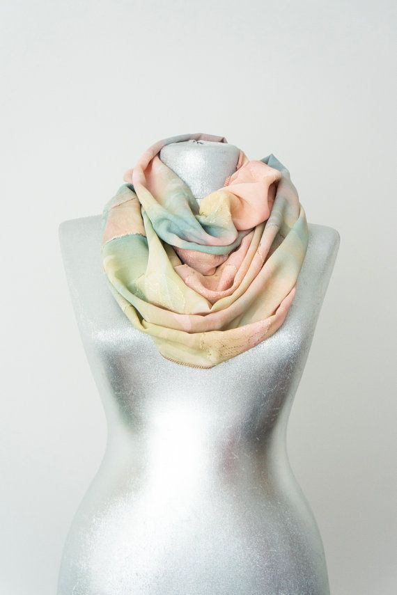 Scarf - Handmade Floral Spring Infinity Scarf - Chiffon - Pastel Pink Blue Mint Mustard - Flower Summer Spring Scarf on Etsy, $18.90