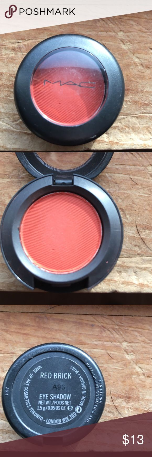 MAC eyes how, Red Brick MAC eyeshadow in Red Brick, matte rust Brick red. Just barely color swatched with q-tip. MAC Cosmetics Makeup Eyeshadow