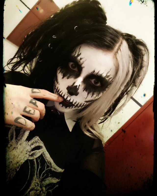 Volker Official vocalist Jenn_yx looking 💀💀💀 for Halloween 🤘 🎃 HALLOWEEN SALE ends Midnight tonight 👻 30% OFF w/ code - TRICKORTREAT 💀 FREE Bandana w/ all orders over £50 🖤 www.crmcclothing.co | Tag a friend  #halloween #halloween2017 #halloweensale #sale #corpsepaint #halloweenfun #blackmetal #streetwear #fashionable #fashion #fashiongram #picoftheday #sugarskull #alternative #dawnofthedead #thewalkingdead #zombies #twd #georgearomero #dayofthedead #alternativefashion #skulls…
