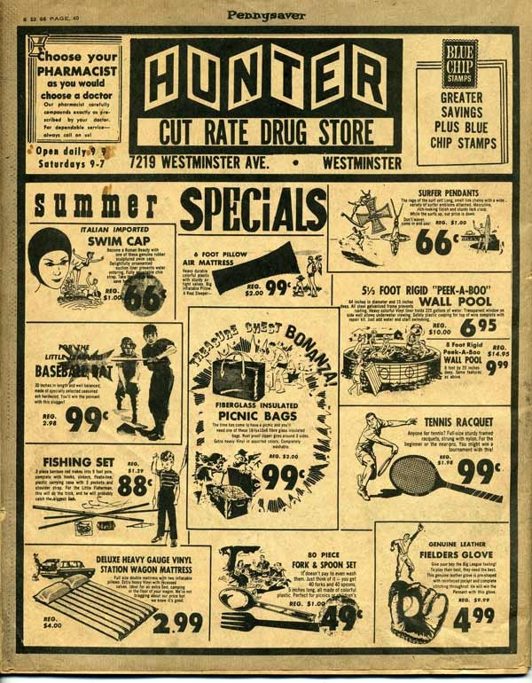A drug store ad from the 1966 Pennysaver.