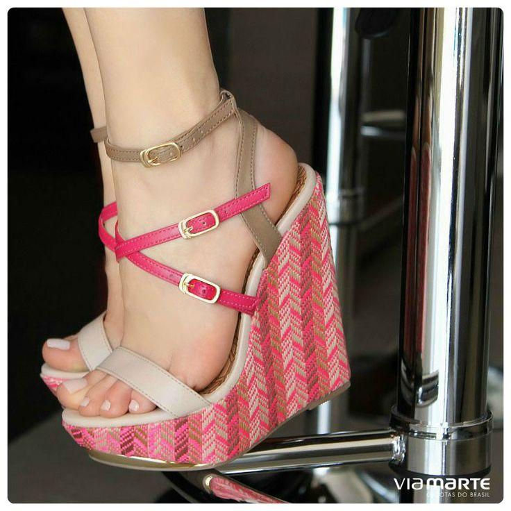 salto anabela - salto alto - pink - tiras - Ref. 14-13656 - verão 2015