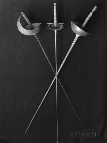 "Fencing Weapons: Epee, Foil, Saber [Photographic Print at AllPosters.com] (See the middle sword -- that's an ITALIAN foil, not well-known in this fencing generation's knowledge of different schools of fencing. I learned this weapon starting when I was 7 years old, when my father put a sword in my hand & said ""you will learn to fence!"". I thought my fingers would break at times - it's a difficult weapon to use -- but has strengths you wouldn't believe. JEO)"