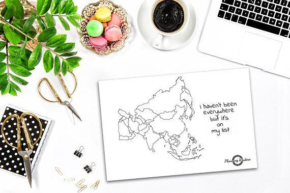 Asia Planner Stickers, kaart van Azië, kaart van de wereld, reizen Tracker