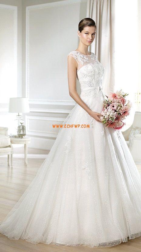 Lodičkový výstřih Tyl Bez rukávů Svatební šaty 2014