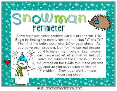Snowman Perimeter Riddle Game #FREE #TeachersFollowTeachers