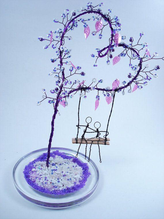 Purple Heart Wire Tree  Wire Beaded Valentine's by wireforest, $55.00