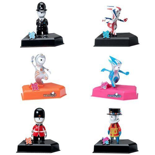London 2012 Olympics 9cm Collectable Figurines - 6 Figure Collection by Golden Bear. $69.99. Official London 2012 merchandise. Set of 6 London 2012 Olympic Figurines. Each 9cm collectable figure comes mounted on its own display stand complete with a plastic case. Featuring Wenlock and Mandeville the official Olympic mascots. Keep your Olympic and Paralympic memories on display with this set of 6 London 2012 Collectable Figurines. High-quality Games merchandise d...