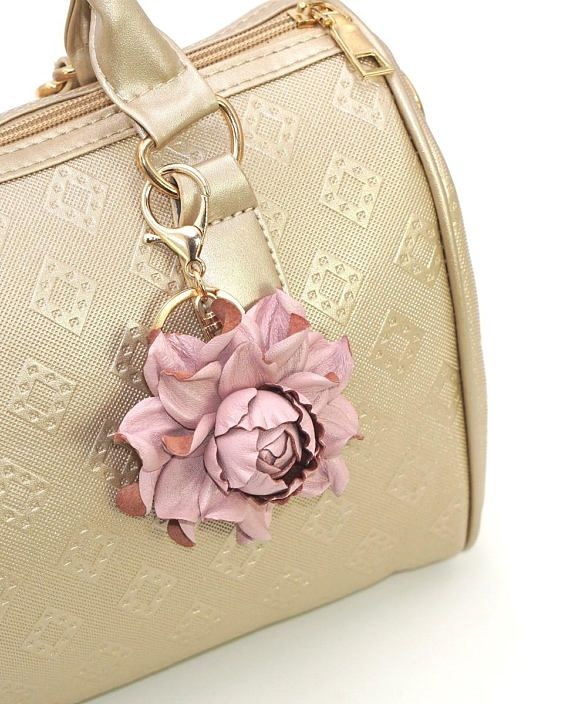 Genuine Leather Flower Bag Charm 3 Dull Pink Rose Purse