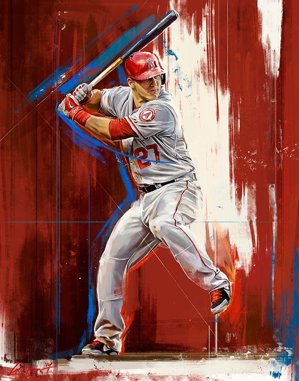 Mike Trout - An Illustrated Print by Robert Bruno, via Behance