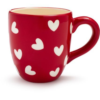 I want a red mug with white hearts! I'm thinking start with a white mug, place sticker hearts on it, paint red, and peel stickers off.
