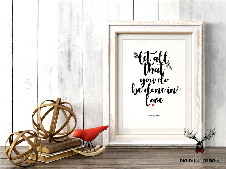 Bible Verse Wall art print printable bible journaling instant download Christian quote Corinthians with love home decor printable wall quote by DigitalDIYDesign on Etsy