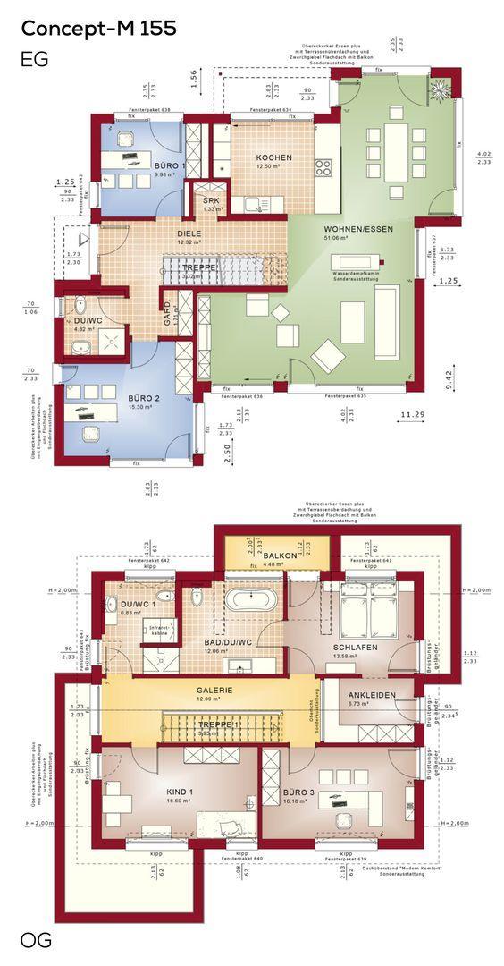 Grundriss Einfamilienhaus mit Büro Anbau und Satteldach-Architektur – Grundrisse Haus Erdgeschoss, Obergeschoss, 5 Zimmer, Küche offen, Treppe gerad…