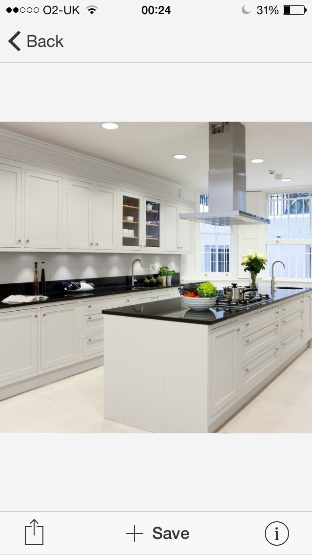 Sleek, modern with a hint of traditional black and white gloss kitchen