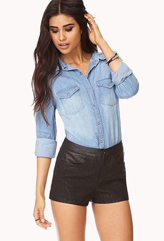 Quilted Paisley Faux Leather Shorts   FOREVER21 - 2000128946