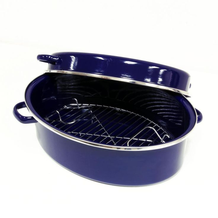 11 QT. Enamel-On-Steel Oval Roaster/Broiler with Stainless Steel Rack in Cobalt Blue
