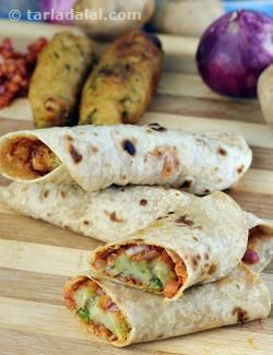 Let's take the best of all our favourite recipes like katti rolls, burgers and frankies, and make our own delightful creation now!    Everything about this recipe is perfect, right from the crispness and perky flavour of the potato rolls, to the soft and pliable rotis. A combination of refined and whole wheat flours are used to give the rotis their special texture, while a mix of mashed potatoes, green peas and cheese together with a blend of spices gives the potato rolls their dashing fl...