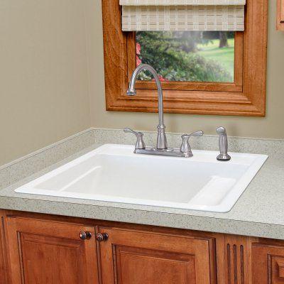 Mustee Vector 25 Single Basin Drop In Utility Sink White - 25