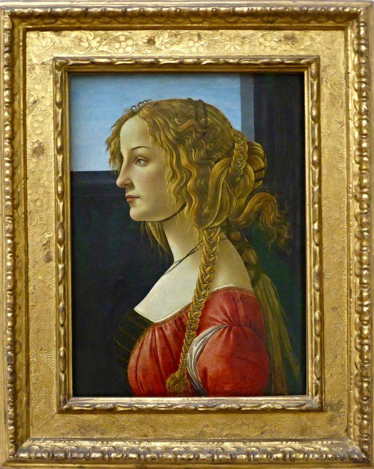 Portrait de profil d'une jeune fille, huile sur toile (ca 1465), Sandro Boticelli, Gemäldegalerie, Berlin.