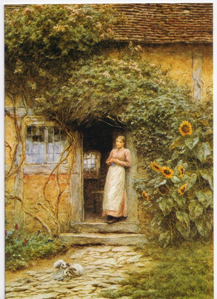 At The Cottage Door Helen Allingham English