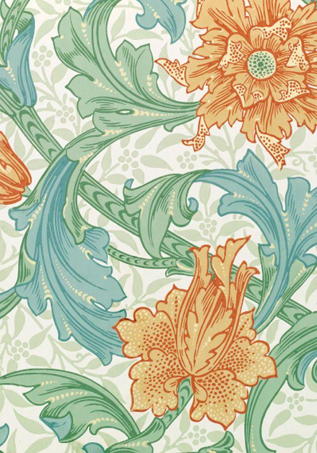 William Morris floral design - Peach and orange