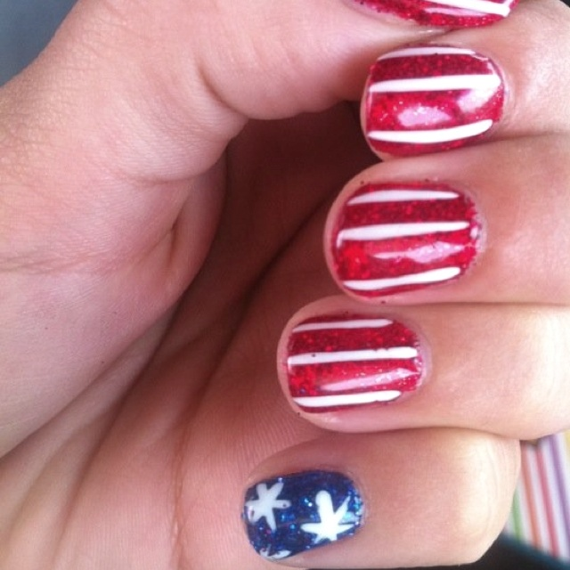 my 4th of July nails using shellac and glitter-by Bozena at our Lisle