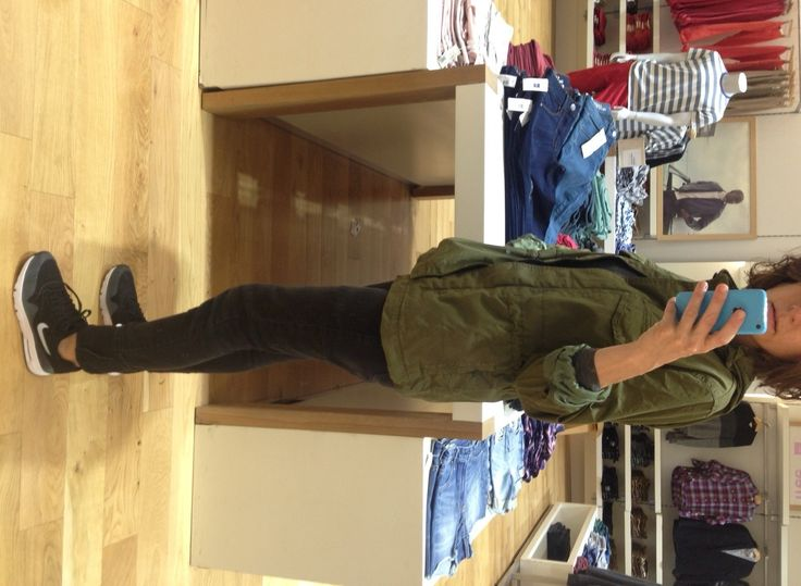 Blogger Kim Gray found a new love - the Gap military green parka. Now available at #Stuttafords